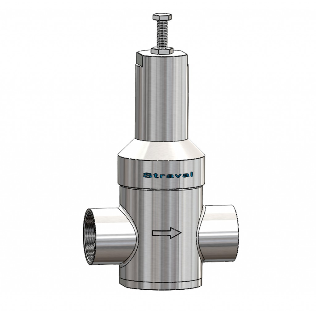 Straval prs 09i stainless steel in line pressure regulator this is a direct acting diaphragm pressure reducing valve most often referred to as a pressure regulator with an adjustable spring operating against a ccuart Choice Image